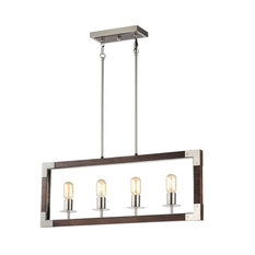 4-Light Brushed Nickel and Wood Farmhouse Island Linear Chandelier