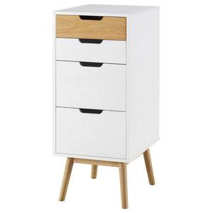 4-Drawer Tall Dresser, White
