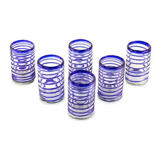 Spirals of Thought, Set of 6 Blown Glass Drinking Glasses, Mexico