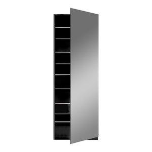 Nova 1-Door Mirrored Shoe Rack, Black