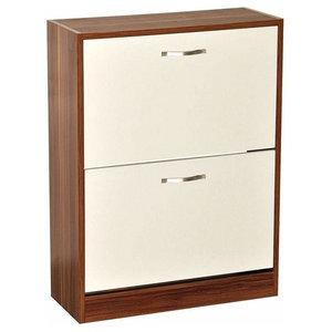 Contemporary Stylish Shoe Storage Cabinet, Walnut and White