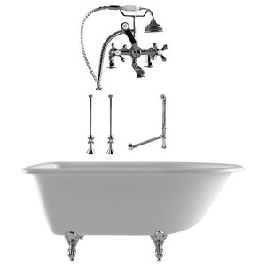 """61"""" Cast Iron Clawfoot Tub Complete Deck Mount Plumbing Package, Chrome"""