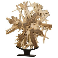 """77"""" Tall Artisan Sculpture Teak Wood Root Natural Brown On Stand Round"""