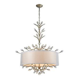 Elk-Lighting 16283/6-LED Asbury 6-Light LED Drum Chandelier, Aged Silver