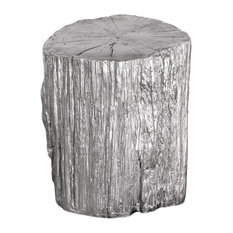 Cambium Ottoman or Stool in Metallic Silver
