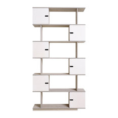PIX Modular Shelving Unit, Pebble Grey and White, 6 Cupboards