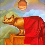 """Gallerique - """"Rhino Egg"""",Oil Painting - Name: Rhino Egg"""