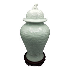 Chinese Vase Carved Celadon with Lion head Lid