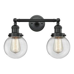 Beacon 2-Light LED Bath Fixture, Matte Black, Glass: Clear