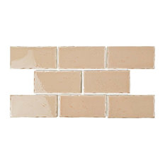 "2.5""x5.13"" Nove Subway Ceramic Wall Tile, Set of 60, Peach"