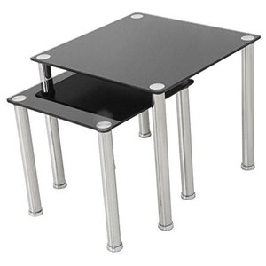 Modern Side Tables, Chrome Metal Frame and Black Tempered Glass Top, Set of 2
