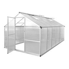 vidaXL Reinforced Aluminium Greenhouse With Base Frame, 9.03 sq. m.