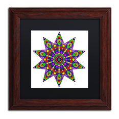 """Ahrens 'Being Silly Mandala Colored', Wood Frame, 11""""x11"""", Black Matte"""