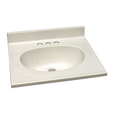 """Single Bowl Cultured Marble Vanity Top 19"""", White"""