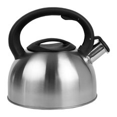 Brushed Stainless Steel Whistling Tea Kettle, Silver, 2.5 Liter
