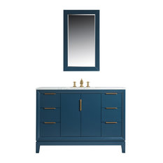 "Elizabeth 48"" Single Sink Carrara White Marble Vanity, Monarch Blue"