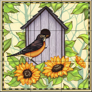Tile Mural, Robin and Sunflowers, 32.4x32.4 cm