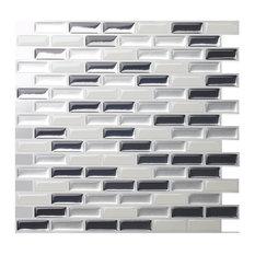 Brick Peel and Stick Tile, 10 Pack, Metal Gray