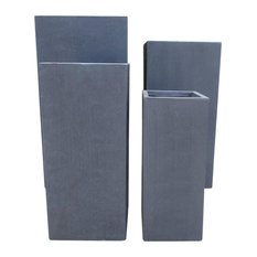 Getpotted Tall Square Contemporary Light Concrete Planter Dark Grey Extra Large Outdoor