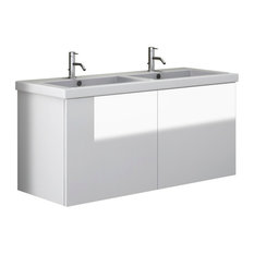 "47"" Vanity Cabinet With Double Ceramic Sink, Glossy White"