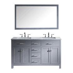 "Virtu Caroline 60"" Double Bathroom Vanity, Gray With Faucet and Mirror"