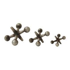 "Modern Silver & Bronze Metal Jacks Sculptures Table Decor, Set of 3: 9"", 7"", 5"""