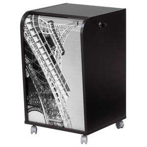 Black Office Storage Unit on Casters, Eiffel Tower