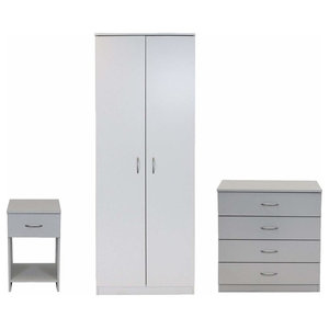 3-Piece Bedroom Furniture Set, Wardrobe 4-Drawer Chest and Bedside Cabinet White