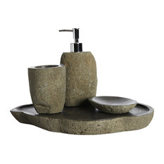 River Stone Soap Dish, Soap Dispenser, Toothbrush Holder and Plate
