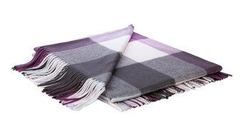Kashmir Check Plaid Throw, Grey and Purple