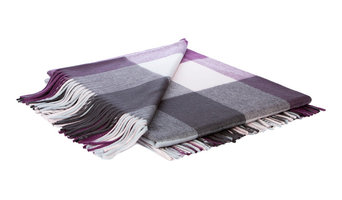 Kashmir Check Plaid Throw, Grey and Purple