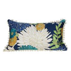 PillowFever - Lumbar Cotton Pillow Cover With Flower Print and Off White PomPom Trim - Decorative Pillows
