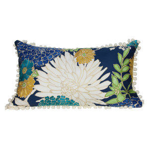 Lumbar Cotton Pillow Cover With Flower Print and Off White PomPom Trim