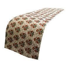 Beige 45 x 185 cm Decorative Bed Runner, Velvet Bed Scarf- Wah Taj