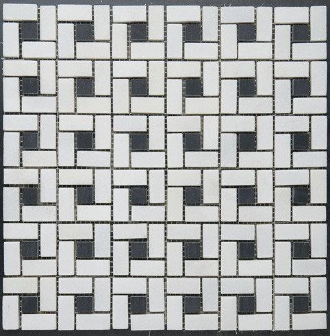 """""""Pinwheel"""" Pattern Mosaic w. Black Dot - Tile"""