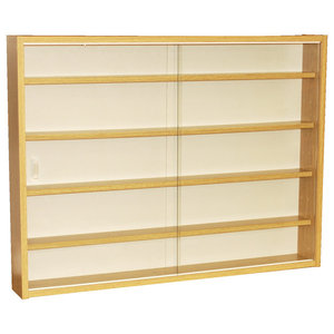 Reveal 4-Shelf Glass Wall Collectors Display Cabinet, Oak