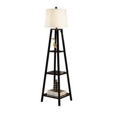 Elliot Modern 63 Java Black Finish 3 Tiered Wood Floor Lamp Contemporary Floor Lamps By Artiva