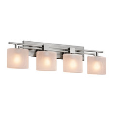 Fusion, Aero 4-Light Bath Bar, Oval Shade, Frosted Crackle, Brushed Nickel