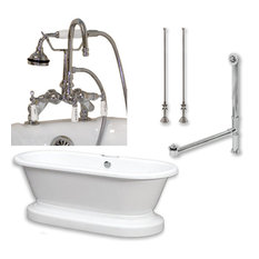"""Acrylic Double Ended Pedestal Bathtub,Polished Chrome Plumbing Package, 70""""x30"""""""