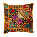 Boho Patchwork Cushion, Rust, Filled