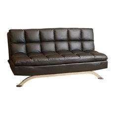 Abbyson Living Reedley Leather Convertible Sofa, Black
