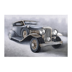 """""""Old Chevrolet"""" Hand Painted Antique Car Wall Art Heavily Textured Bold Neutrals"""