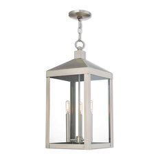 Nyack 3-Light Outdoor Pendant Lantern, Brushed Nickel With Clear Glass