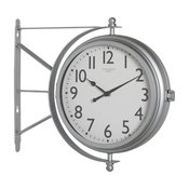 """Offex Outdoor 18"""" Dual Face Clock and Thermometer, Silver"""