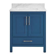 """Kendall Blue Bathroom Vanity, 30"""", Vanity With Carrara Marble Top"""