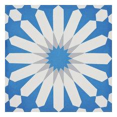 """8""""x8"""" Alhambra Handmade Cement Tile, Blue/White/Gray, Set of 12"""