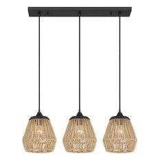 Romain 3-Light Island Chandelier With Natural Rattan Shades