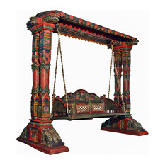 Two Pillar Design Painted Wooden Carved Royal Swing Set/Indoor Jhula