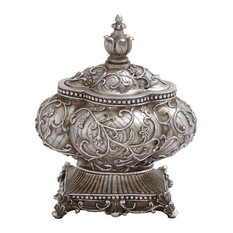 benzara attractive polystone decorative urn with intricate detailing silver decorative jars and urns - Decorative Urns