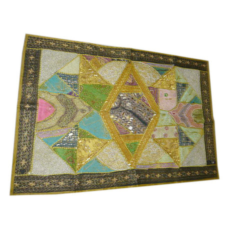 Mogulinterior - Patchwork Sari Throw Embroidered Olive Green Wall Tapestry - Tapestries